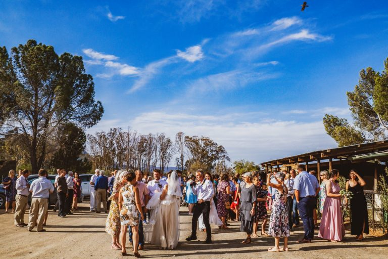 A Karoo Wedding where the guests congratulate the bride and groom