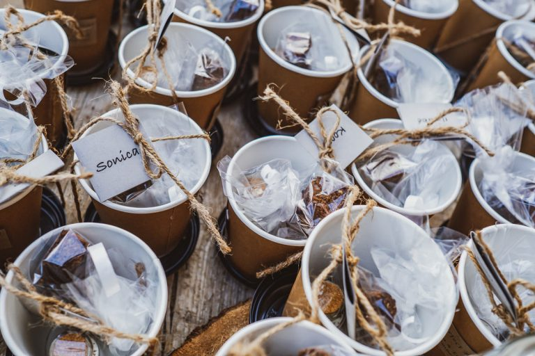 A Karoo Wedding with unique personal touches such as this coffee wedding guest favours