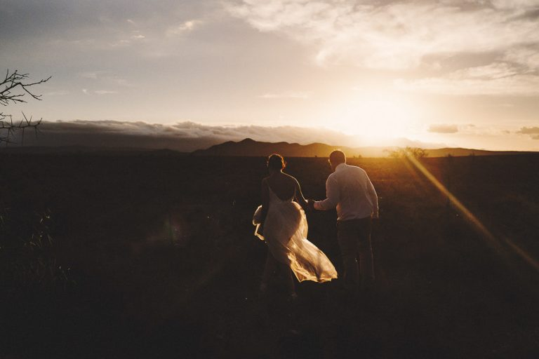 Beautiful karoo sunset light for this couple photo