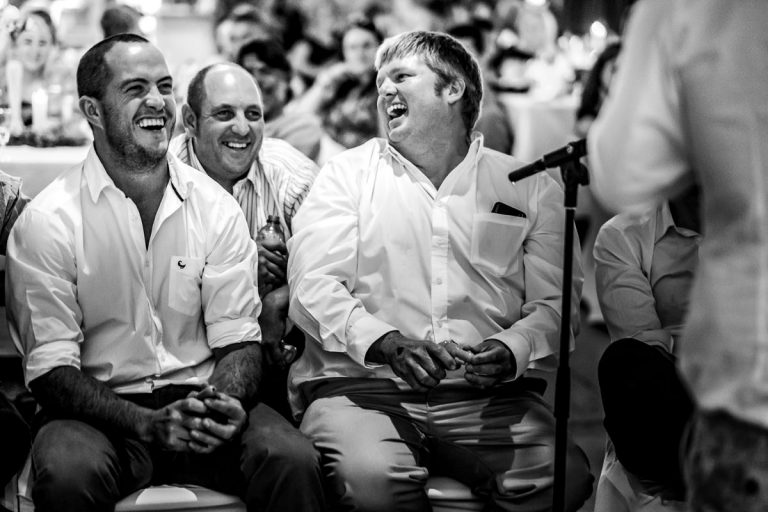 the groom gets teased by his friends during his wedding speech