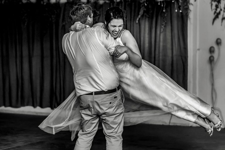 A great moment during the bride and groom's first wedding dance