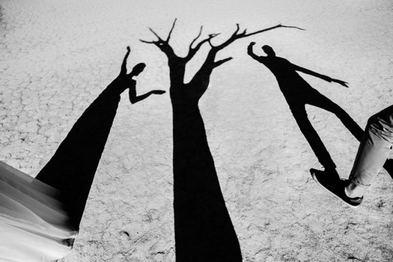 A creative bride and groom portrait in the Namibia desert making use of the shadows of the dead trees at Deadvlei.