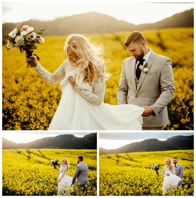 the groom helps his new wife through the muddy canola fields