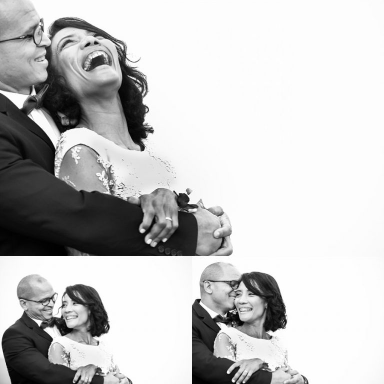 Intimate Wilderness Wedding with a jubilant bride and groom like these black and white couple photos