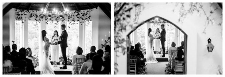 the bride and groom say their vows inside this intimate forest chapel