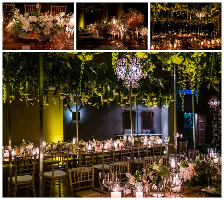 the wedding reception at night with the beautiful flowers and candles