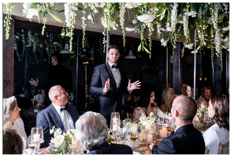 the groom giving his wedding reception speech