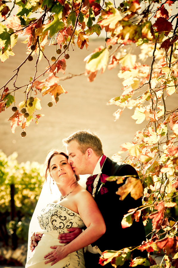 the groom kissing his bride with autumn leaves