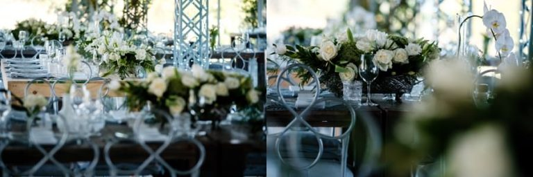 beautiful white roses as table settings at this belair wedding venue