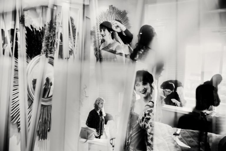 wedding preparations for the bride using reflections