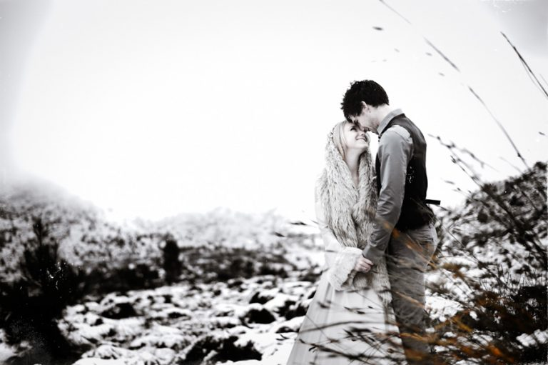 the wedding couple in snow
