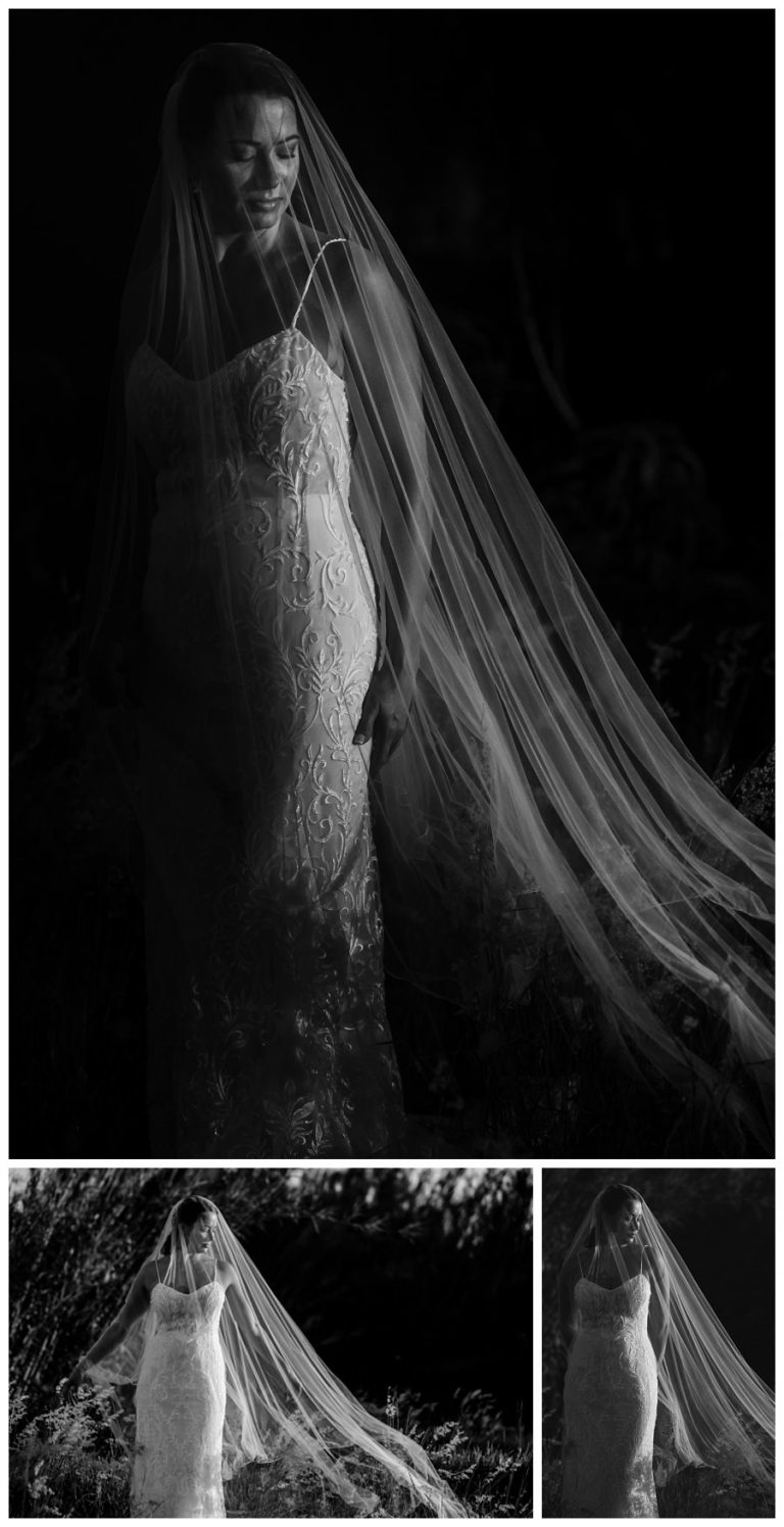 moody black and white photos of the bride using her veil