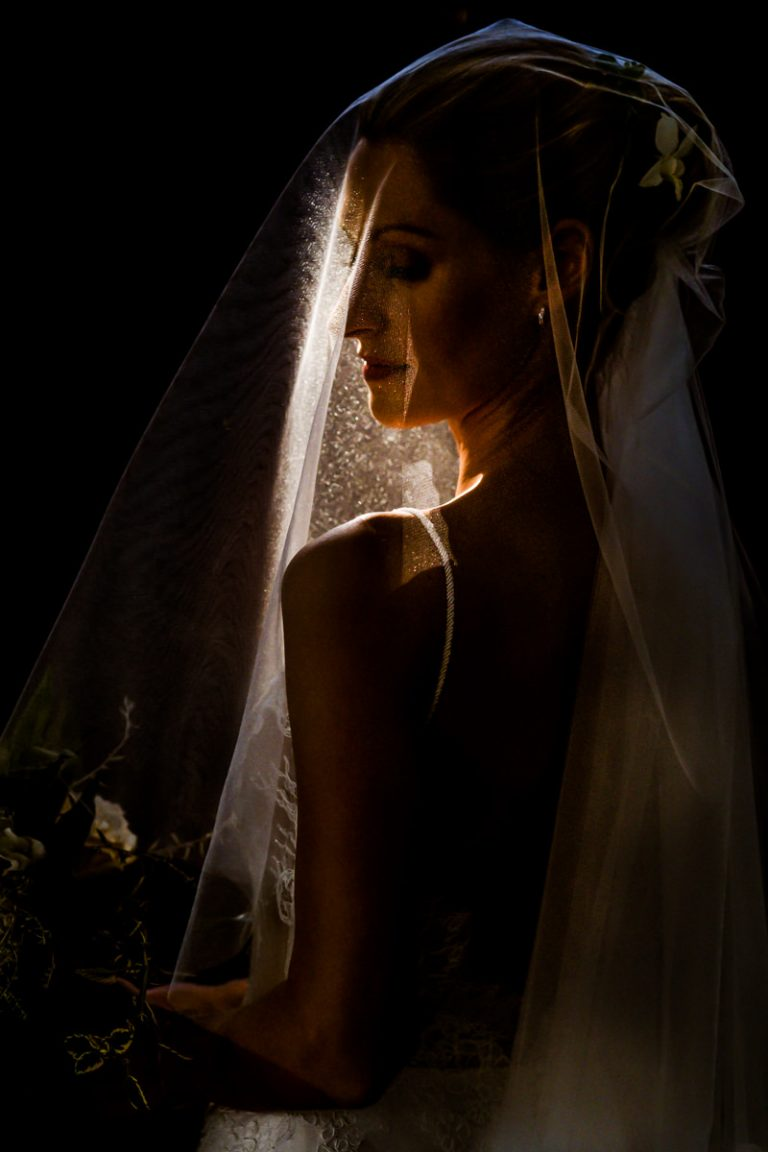 a creative bridal portrait using natural light