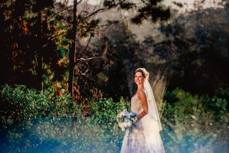 the beautiful bride in the forest