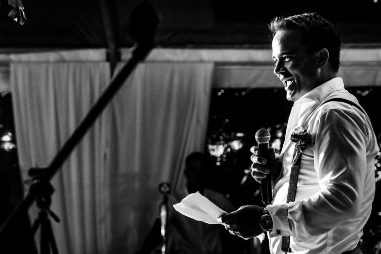 the best man tells a joke during his wedding speech