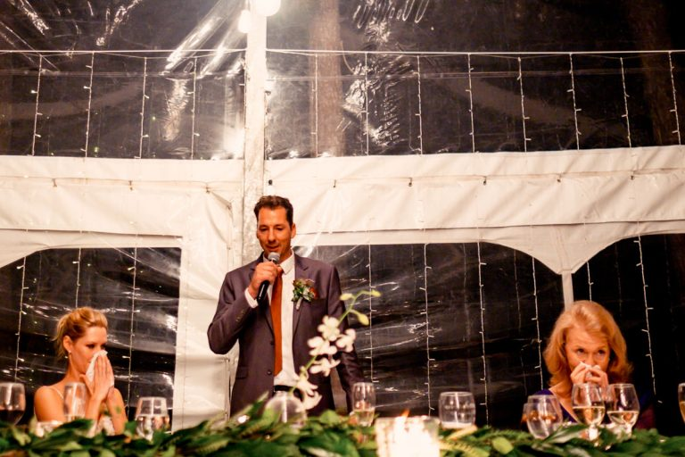 tears all around as the groom makes his wedding speech