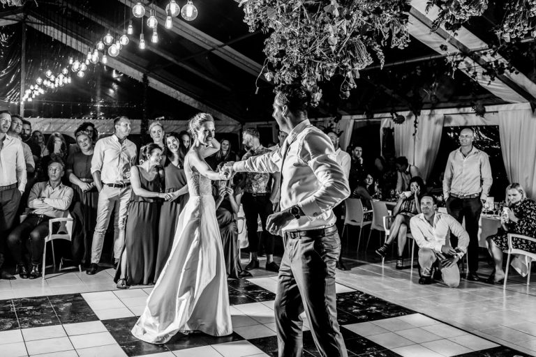 a dance move during the bridal couple's first dance