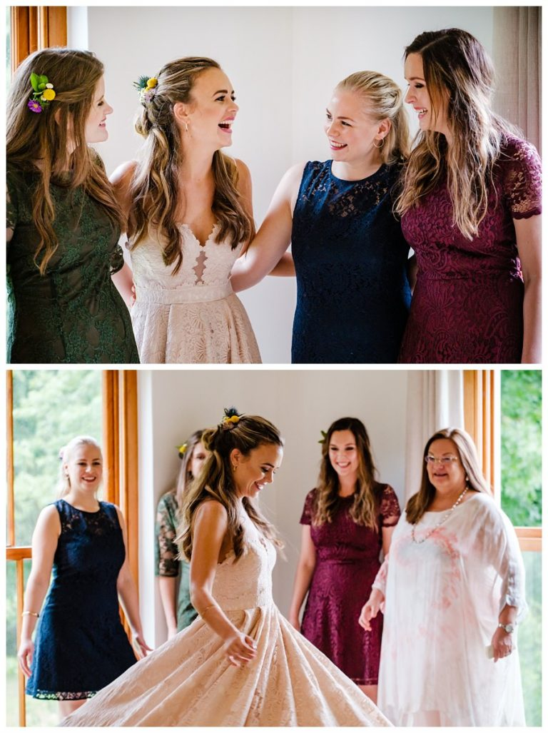 the bride and her bridesmaids having fun