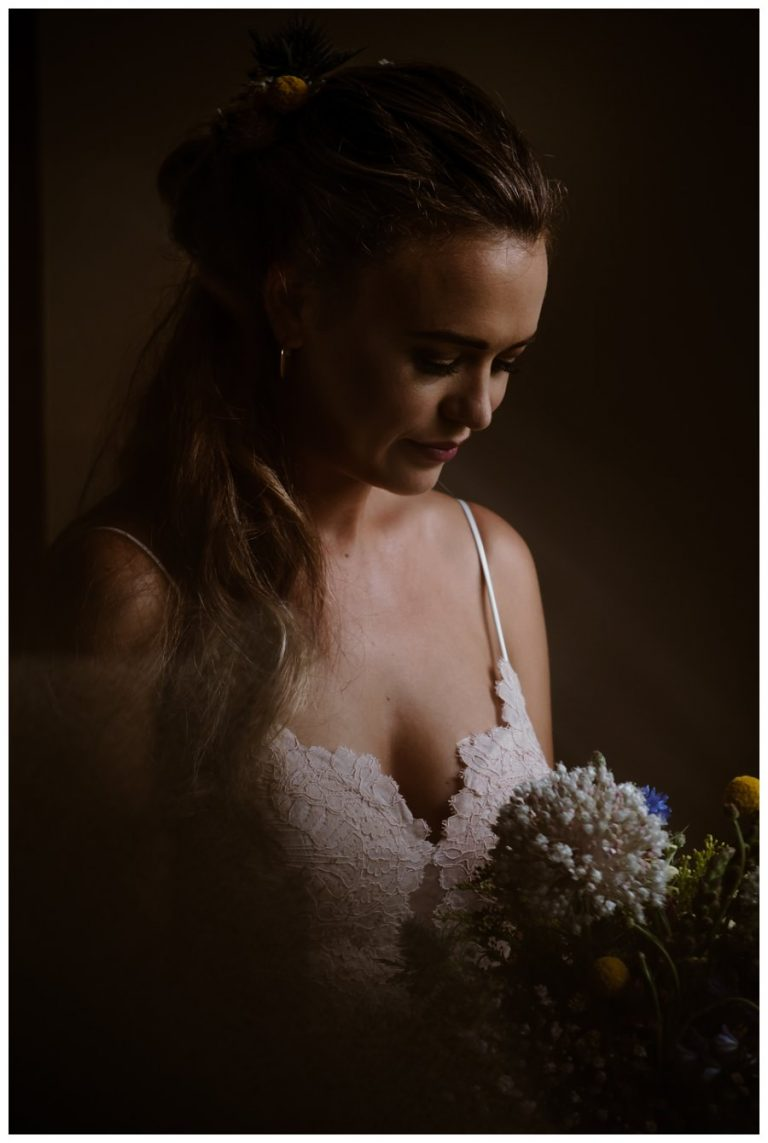 artistic bridal portrait using natural window light