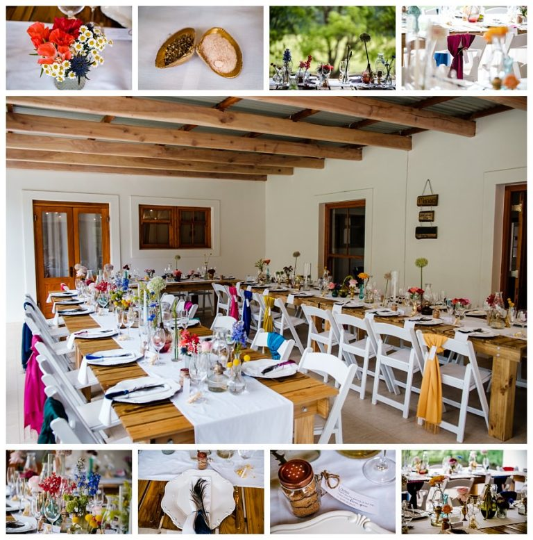 details and decor from the colourful farm wedding reception