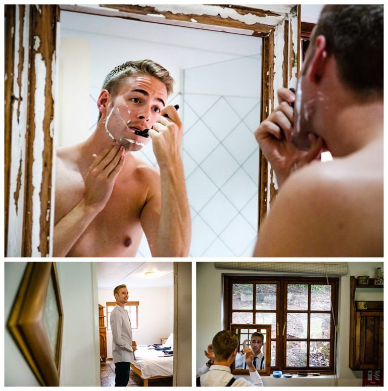 the groom shaving before his wedding