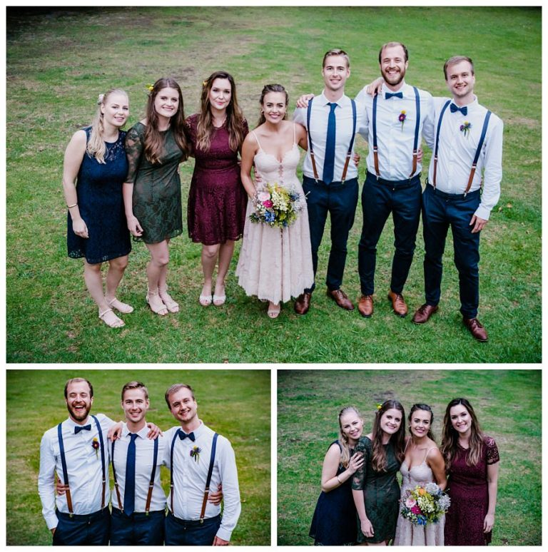the bridal party with bridesmaids and groomsmen