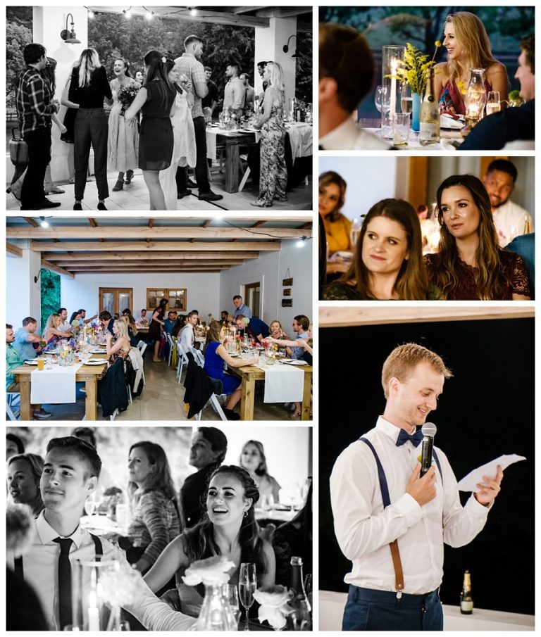the wedding reception with speeches