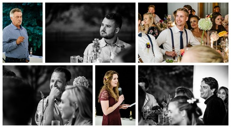 wedding guests reacting to wedding speeches