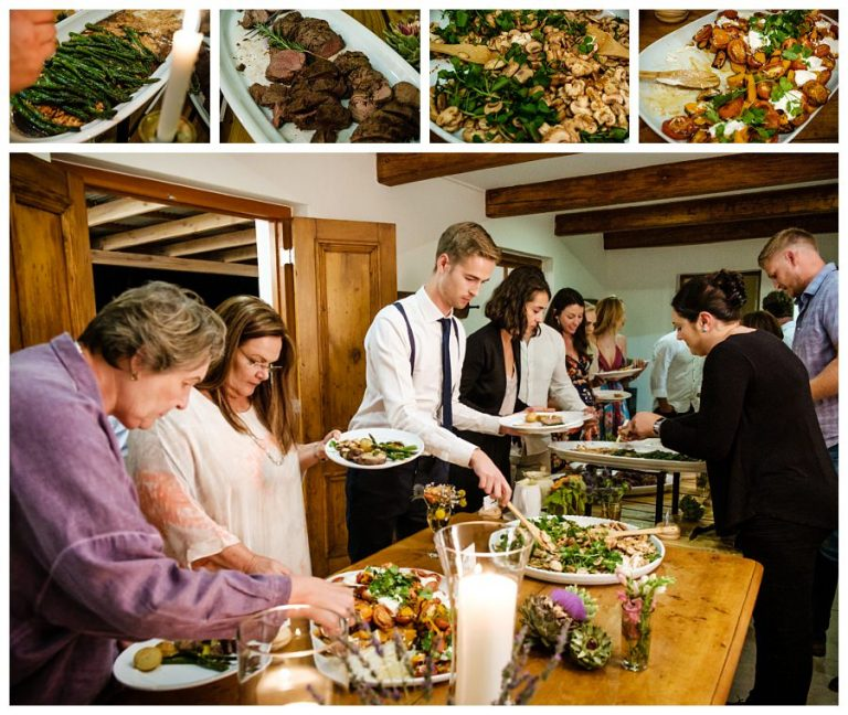 the wedding guests enjoys a spread of delicious food
