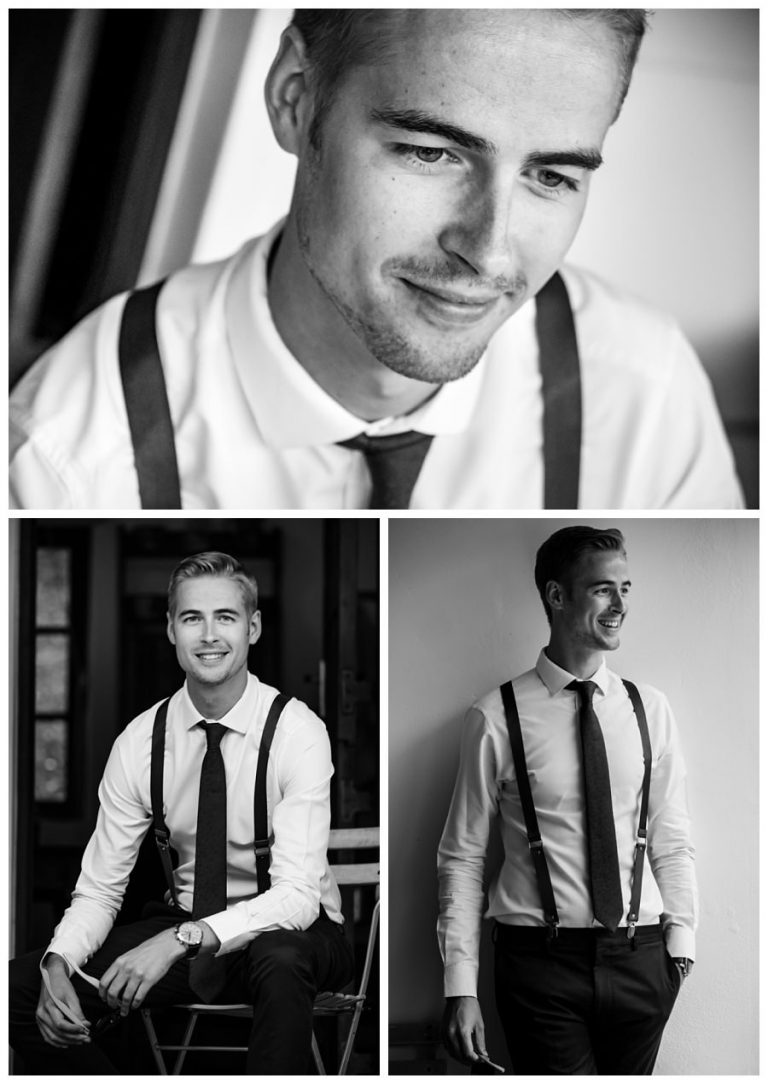 black and white groom portraits