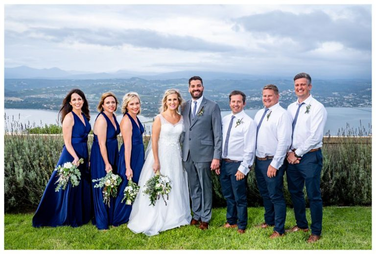 the bridal party portrait with lake views