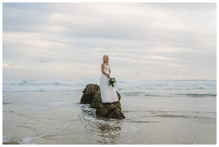 a beautiful bride portrait on the beach