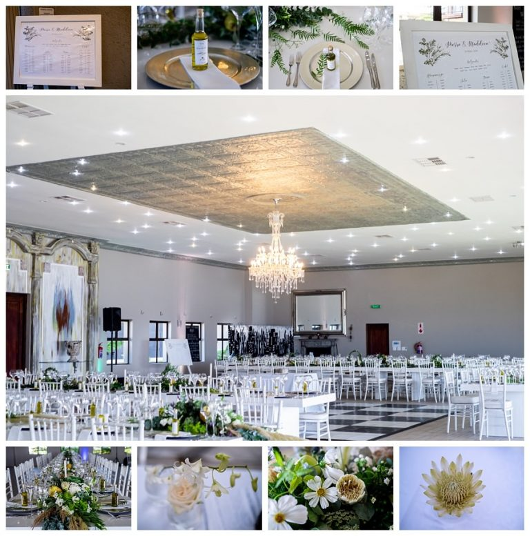wedding details and decor in white