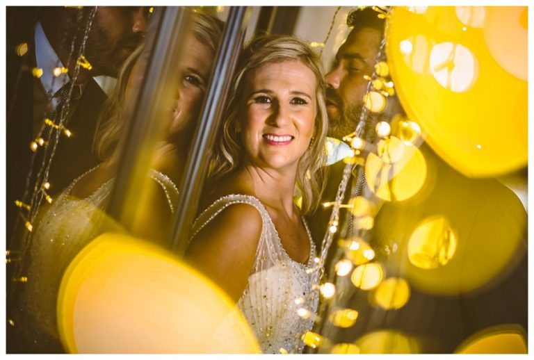 a creative night portrait using fairy lights