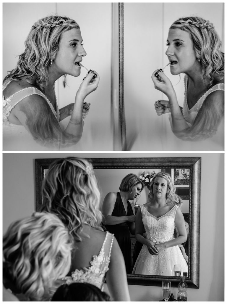 the bride doing final touches before her wedding