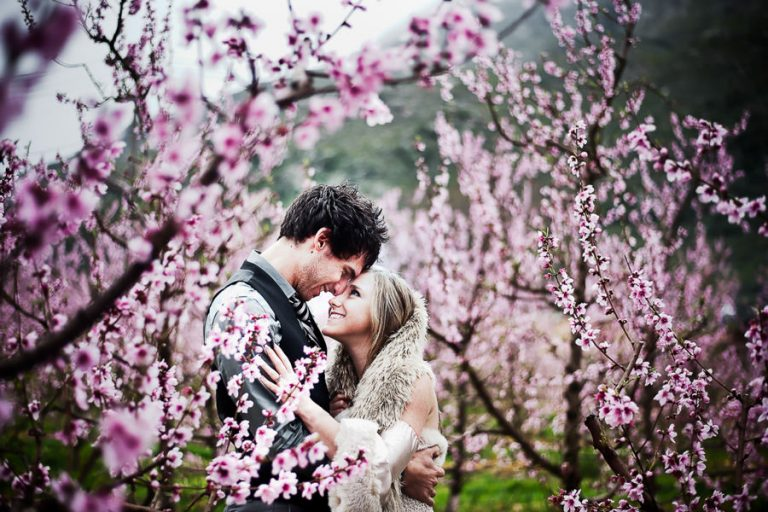 Beautiful Wedding Photos as taken by Christelle Rall, like this one where the bride and groom shares a loving moment while standing in an orchard that is blooming with pink blossoms.