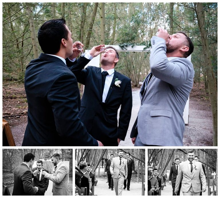 the groom and his groomsmen drinks a shot before walking down the isle