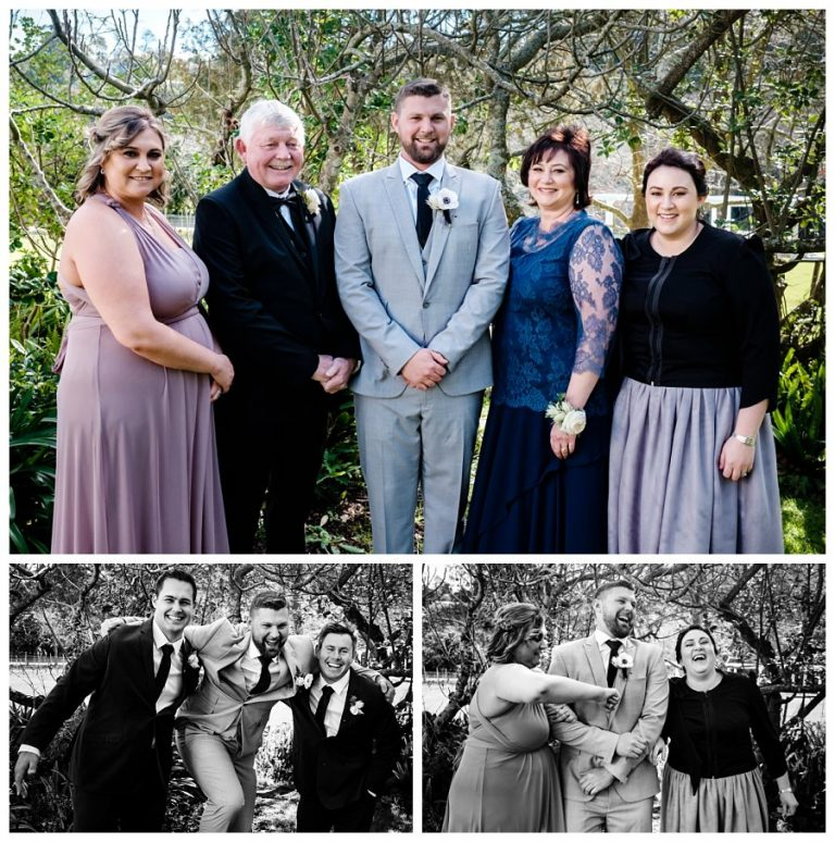 the groom and his family and groomsmen portraits