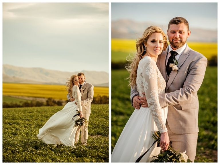 the gorgeous bride and groom poses for a wedding couple portrait