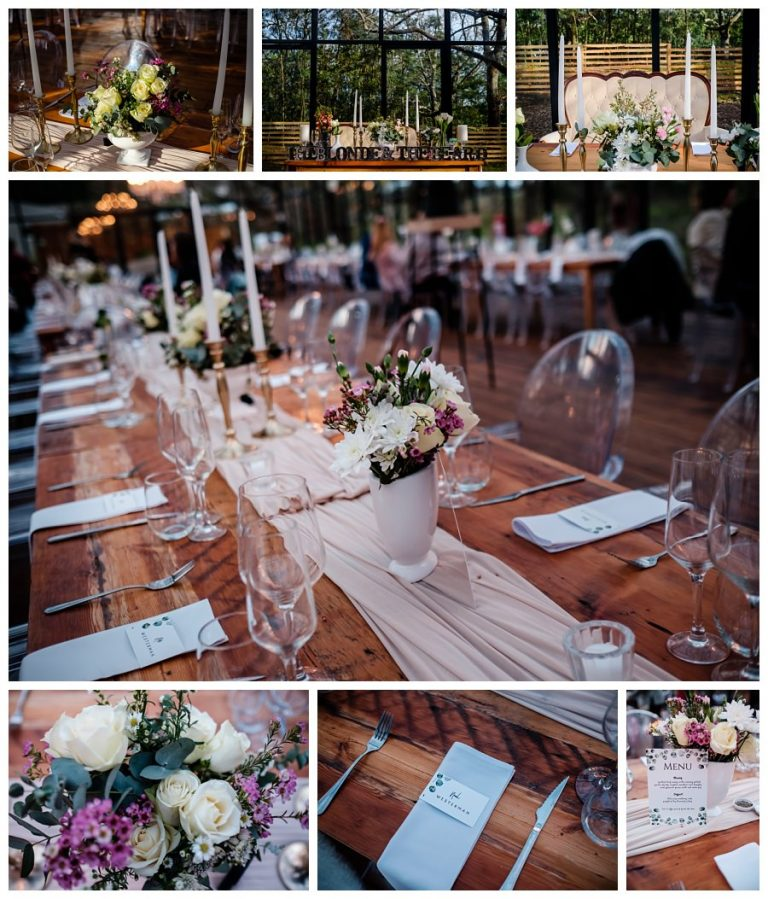 the beautiful flower arrangements and details from their wedding reception