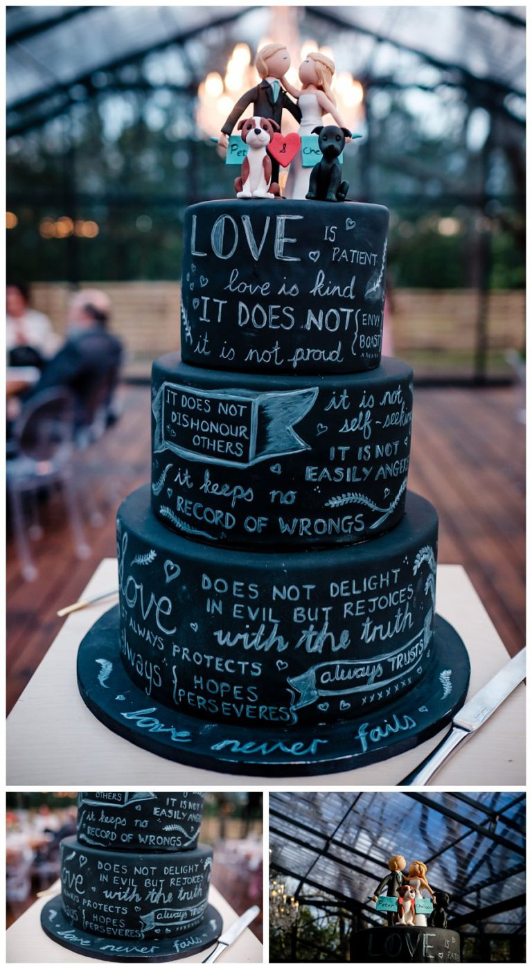 the unique black wedding cake with the wedding couple and their dogs