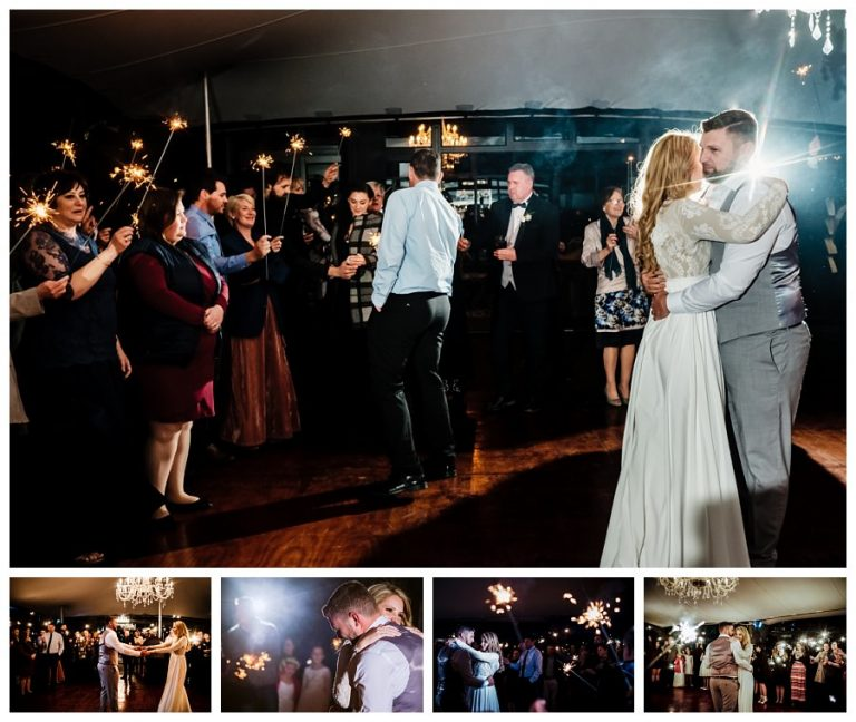 the couple opens the wedding dance floor with their first dance