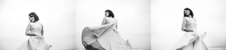 a couple of bride portraits on the beach in black and white