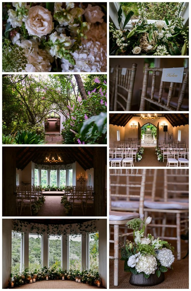 all of the most beautiful wedding flowers that decorated this quaint forest wedding chapel