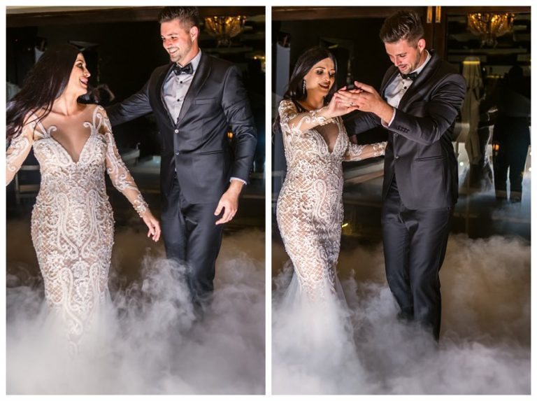 the smoke rise from the dance floor as the wedding couple opens the dance floor