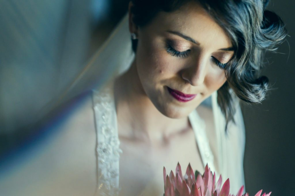 A beautiful, soft bluish portrait of the bride