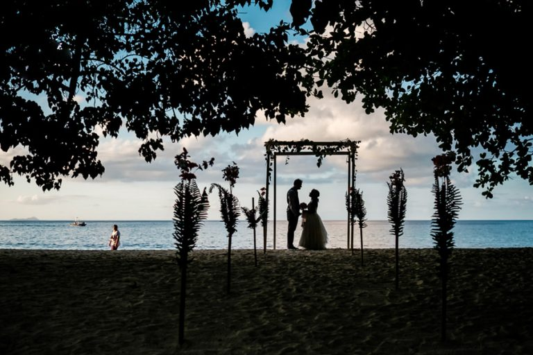 a guest look at a Seychelles island wedding ceremony