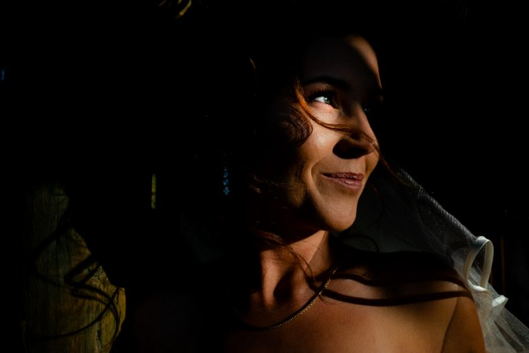 a creative photo of the bride using natural light