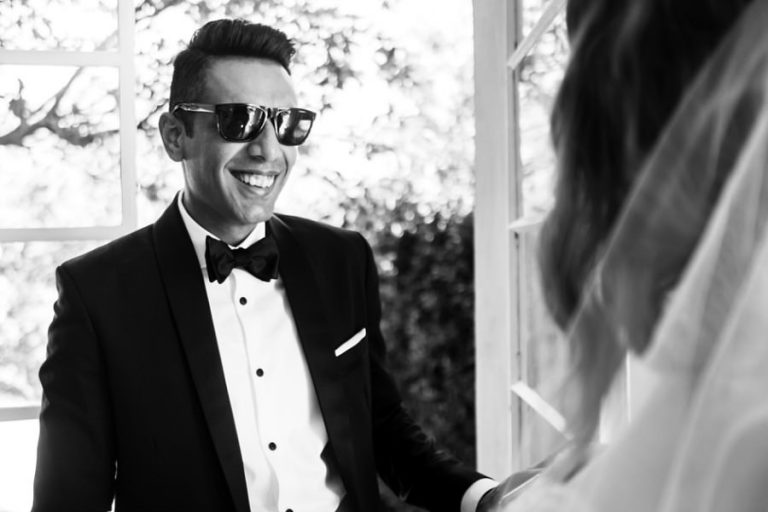 the groom seeing his bride for the first time at Belair venue in Paarl