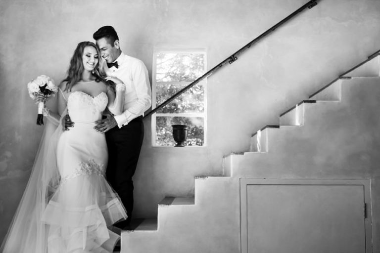 Wedding photos at Belair venue like this one making use of the stair case at the guest house